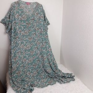 Woman Within 1X plus size floral maxi dress cotton